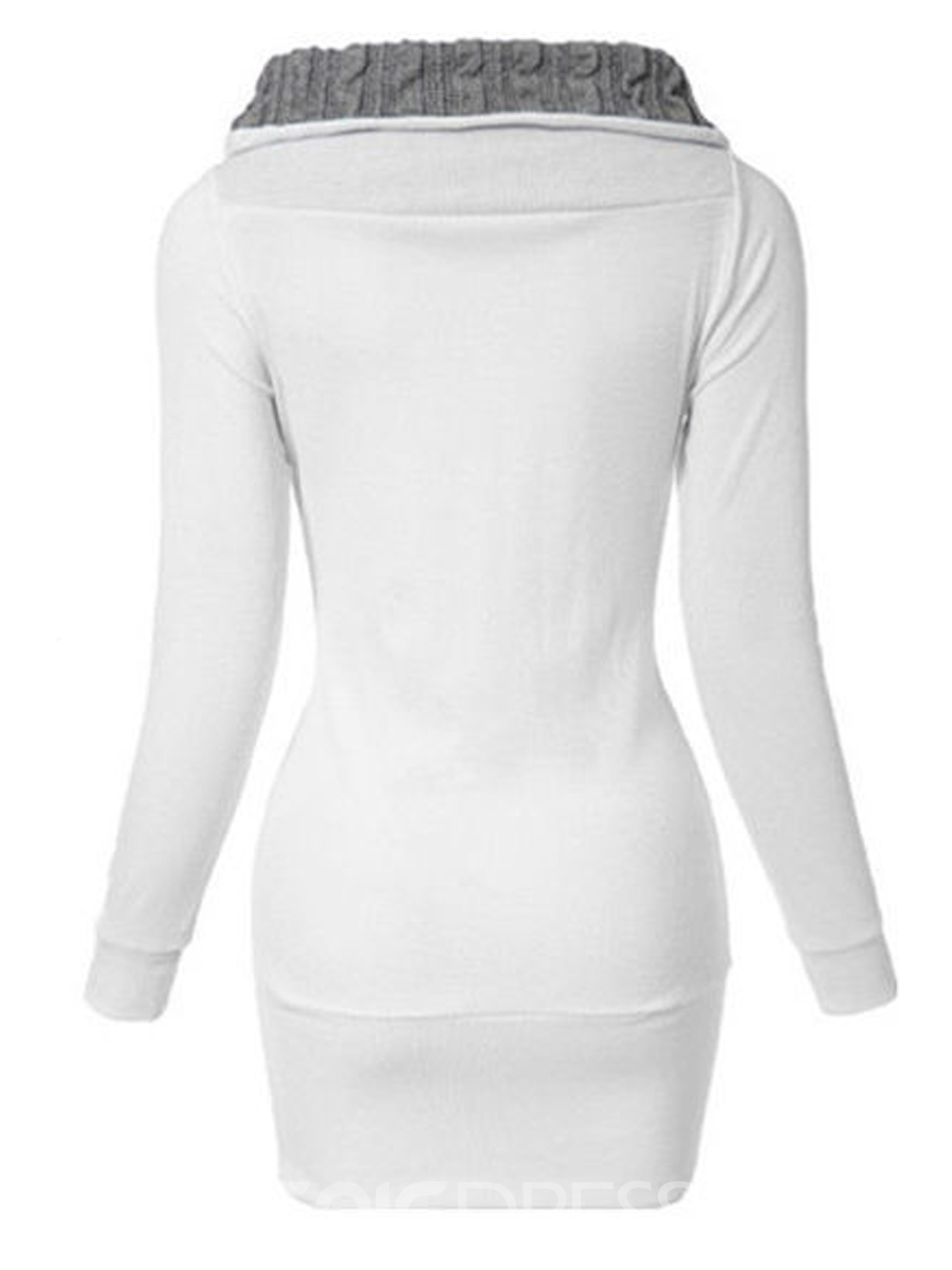 Ericdress Straight Color Block Oblique Hoodie