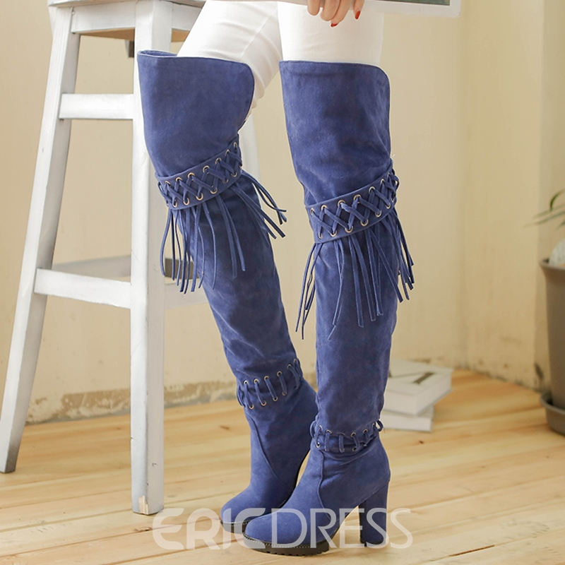Ericdress Ethnic Tassels Platform Knee High Boots