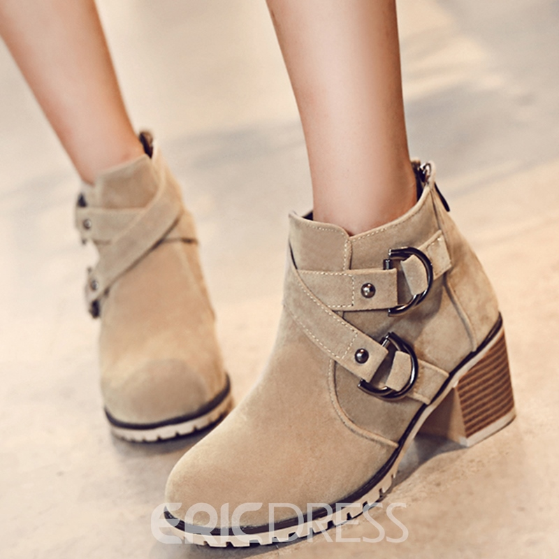 Ericdress Sweet Buckles Square Heel Ankle Boots