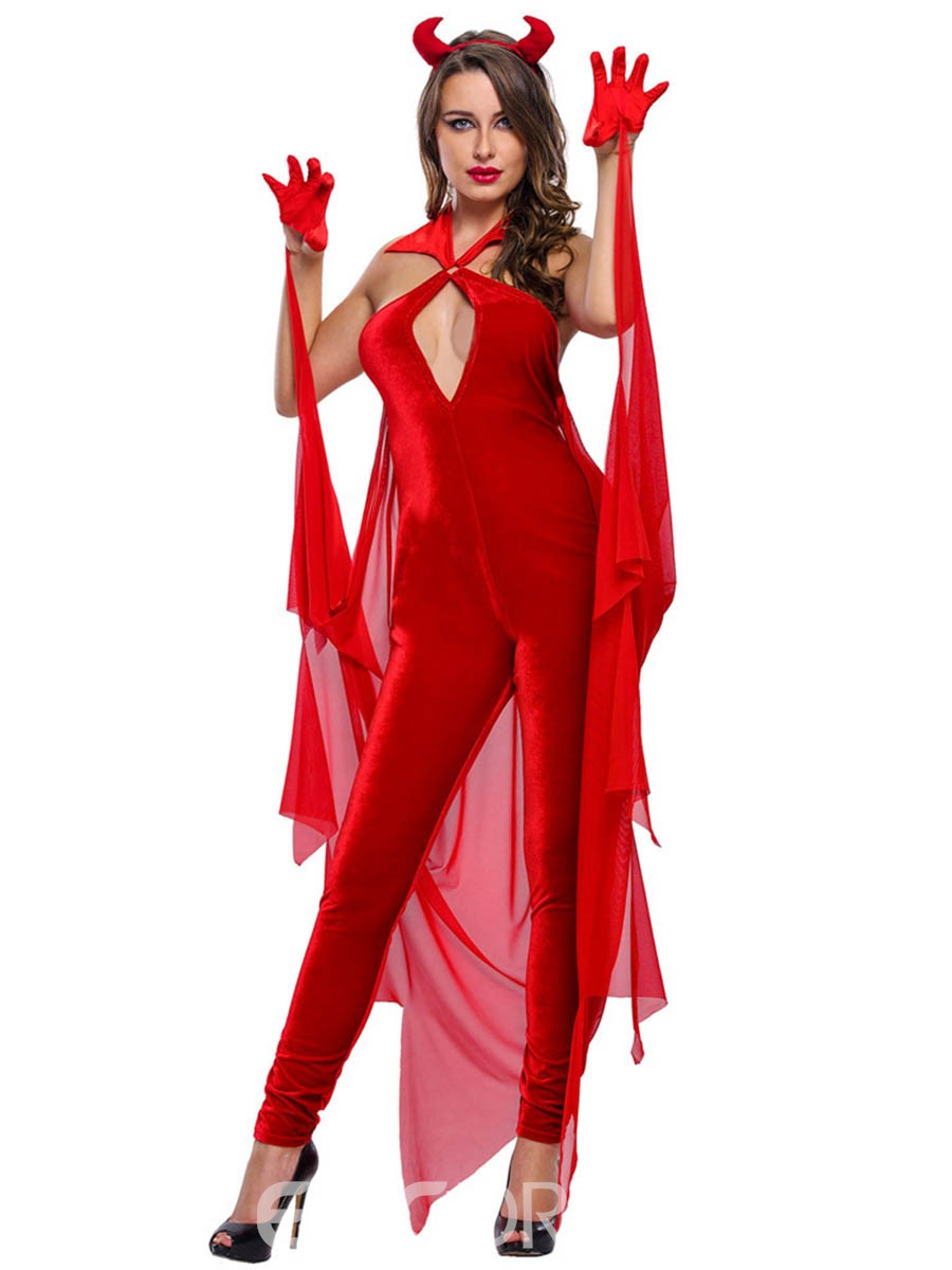 Ericdress Red Backless Sexy Witch Cosplay Halloween Costume