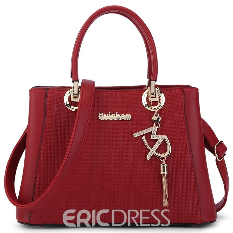 Ericdress Stripe Embossed Tassel Handbag