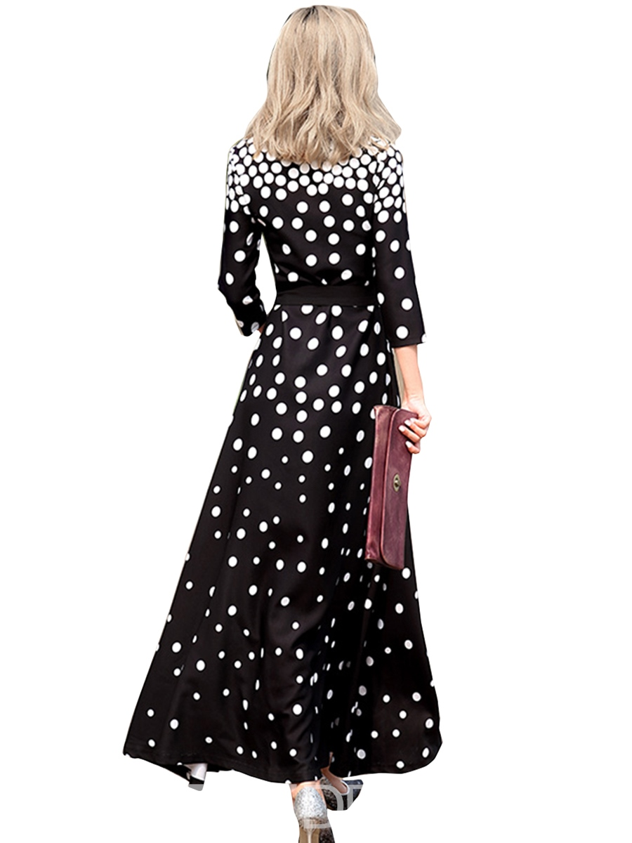 Ericdress Polka Dots Lace-Up Pleated Maxi Dress