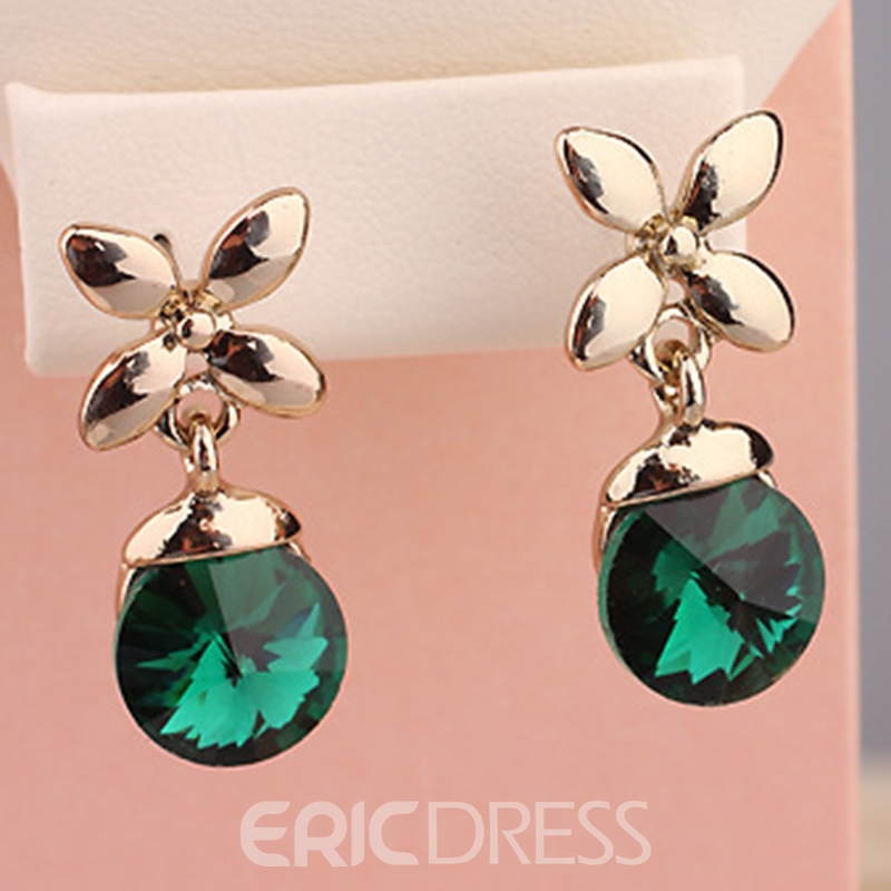 Ericdress Four Leaf Clover Crystal Pendant Earrings