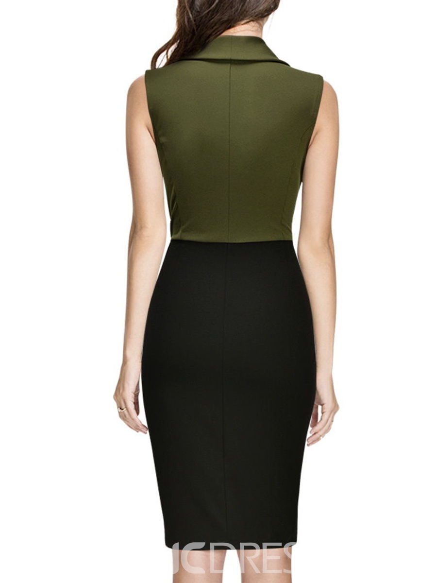 Ericdress Sleeveless Button Split Bodycon Dress