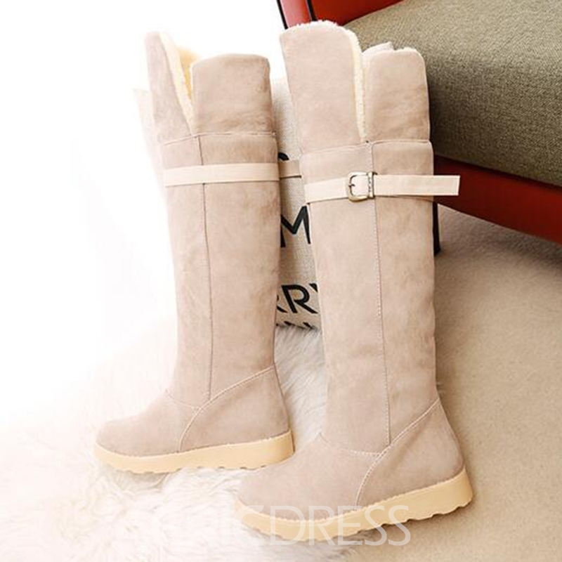 Ericdress Cozy Suede Buckles Knee High Boots