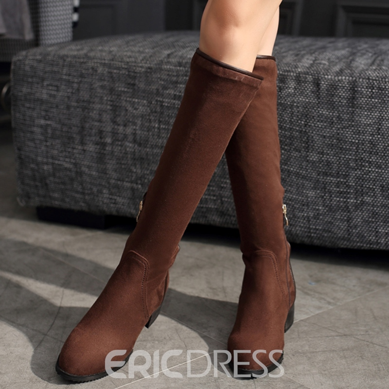Ericdress Suede Square Heel Thigh High Boots