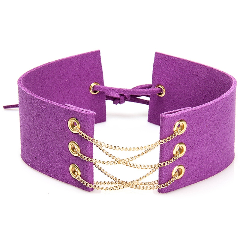 Ericdress Chain Design Wide Ultra Violet Choker Necklace