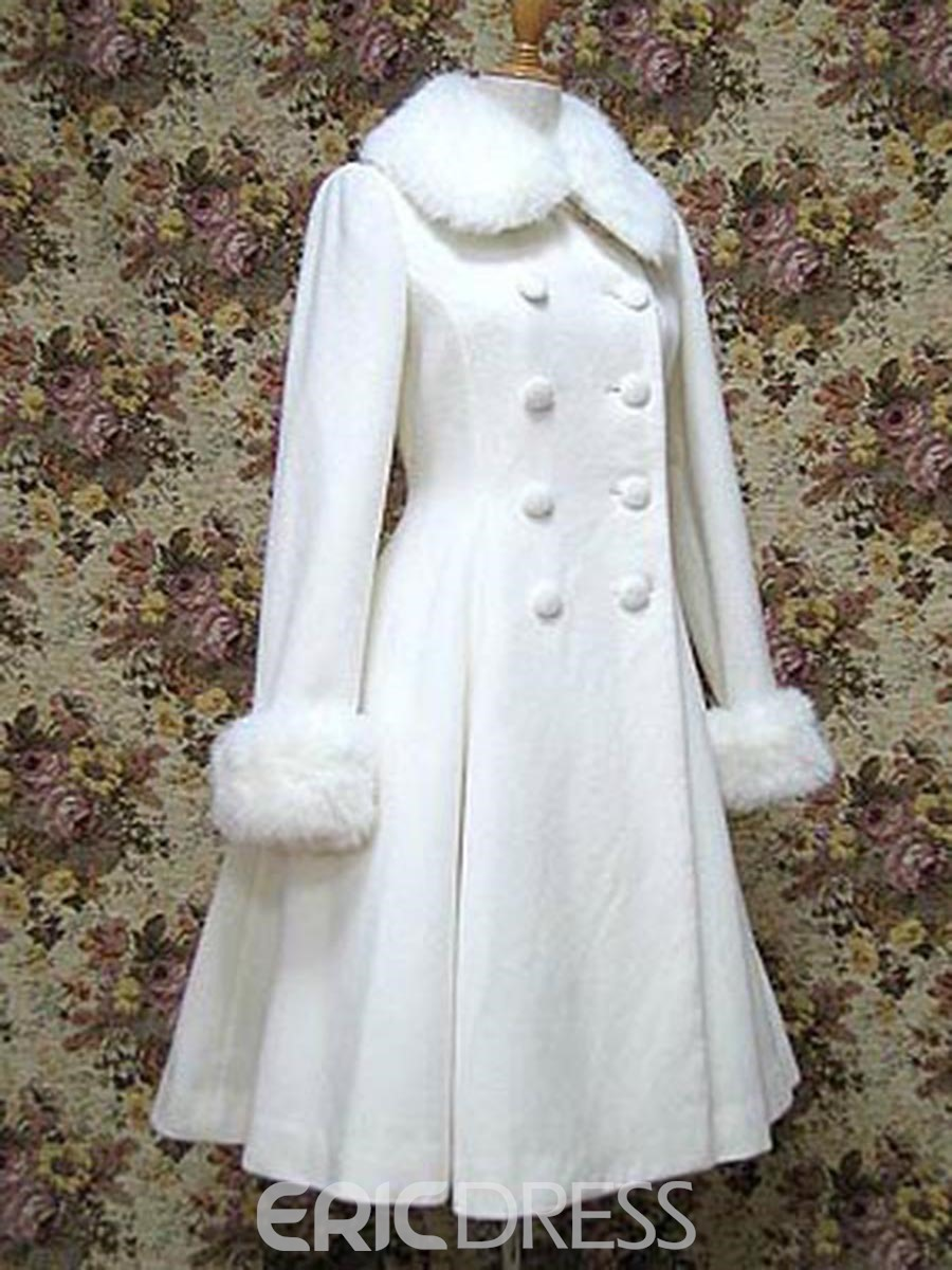 Ericdress Double-Breasted Lace-Up Wace Cut Lady Coat