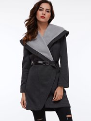 Ericdress Color Block Slim Turn-Down Plus Size Coat - $28.40