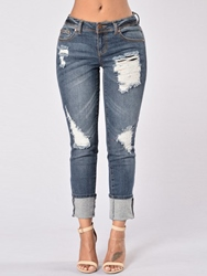 Ericdress Worn Holes Revers Washable Jeans 12581391
