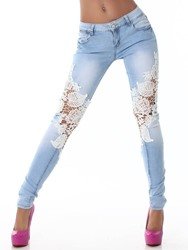 Ericdress Lace Hollow Washable Low-Waist Jeans 12578371