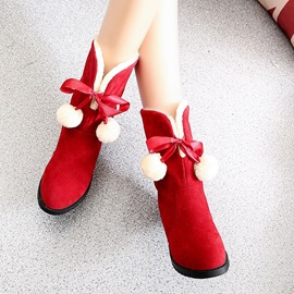 Ericdress Pom Bowknot Snow Boots