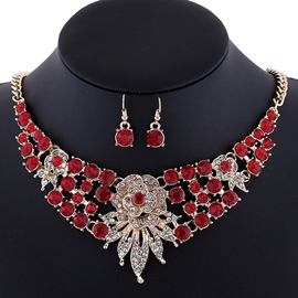 Ericdress Shining Diamante Flowers Jewelry Set