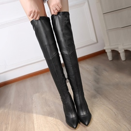 Ericdress PU Point Toe Stiletto Heel Over The Knee Boots