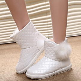 Ericdress Delicate Furry Pom Grid Snow Boots