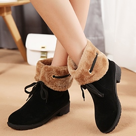 Ericdress Sweet Furry Lace up Ankle Boots