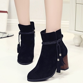 Ericdress Tassels Decoration Chunky Heel Ankle Boots