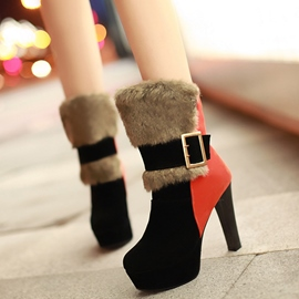 Ericdress Graceful Buckle Color Block Chunky Heel Boots