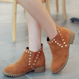 Ericdress Suede Rivets Slip on Ankle Boots