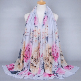 Ericdress Colorful Peony Printed Voile Scarf
