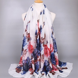 Ericdress Big Flowers Printed Voile Women's Scarf