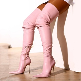 Ericdress Sexy Pink Point Toe Thigh High Boots