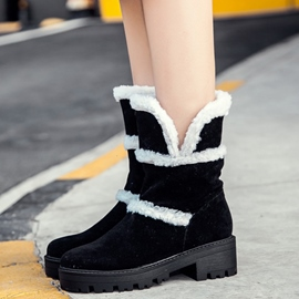 Ericdress Delicate Furry Block Heel Snow Boots