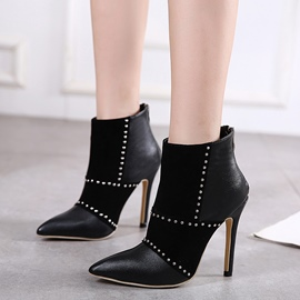 Ericdress Patchwork Rivets Point Toe High Heel Boots