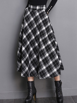 Ericdress Plaid Print Plissee High-Waist Expansion Maxirock