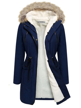 Ericdress Color Block Slim Thick Fleece Coat