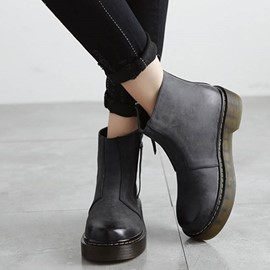 Ericdress Retro Round Toe Brush Off Ankle Boots