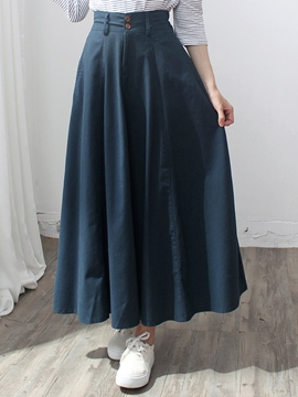 Ericdress Pleated High-Waist A-Line Maxi Skirt