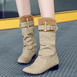Ericdress Pretty Patchwork Buckles Flat Boots