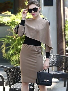 Ericdress Scoop Patchwork Long Sleeve Bodycon Dress