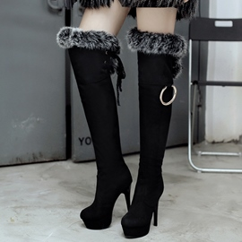 Ericdress Suede Short Floss Platform Ultra High Thigh High Boots