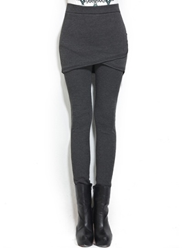 Ericdress False Two-Piece Asymmetric Thick Leggings Pants