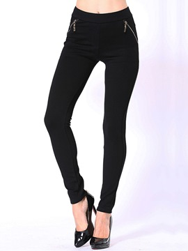 Ericdress Cotton Zipper Leggings Pants