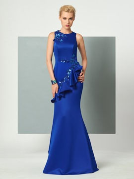 Ericdress Mermaid Scoop Neck Sleeveless Applique Floor Length Evening Party Dress
