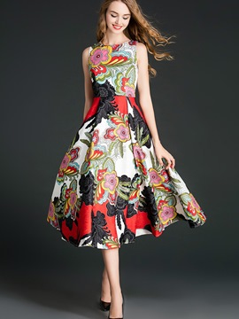 Ericdress Fashion Sleeveless Floral Colorful Casual Dress