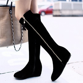 Ericdress Pretty Suede Side Zipper Thigh High Boots