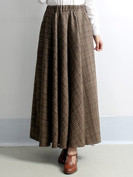 Ericdress Retro Pleated Plaid Print Expansion Maxi Skirt