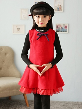 Ericdress Red Bow Sleeveless Girls Dress