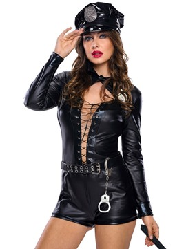 Ericdress Sexy Black Strappy Belt Police Cosplay Costume