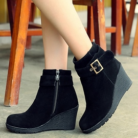 Ericdress Suede Buckles Wedge Heel Ankle Boots