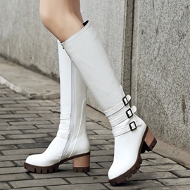 Ericdress PU Buckles Square Heel Thigh High Boots