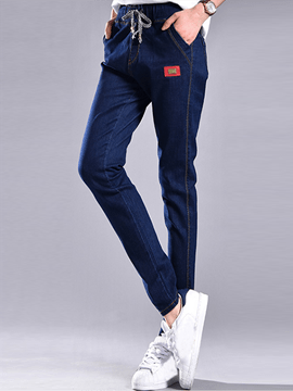 Ericdress Appliques Lace-Up Pocket Slim Jeans