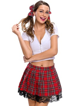 Ericdress Deep V-Neck Plaid Above Knee Student Cosplay Costume