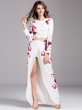 Ericdress Print Belt Split Maxi Dress