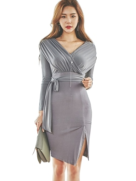 Ericdress Korean Cross V-Neck Peated Patchwork Split Sheath Dress