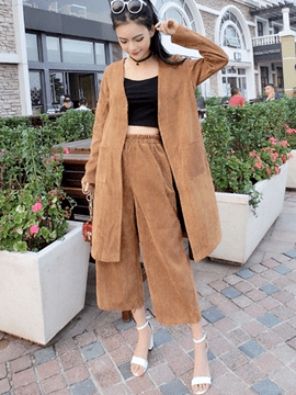 Ericdress Solid Color Wrapped Wide Legs Leisure Suit